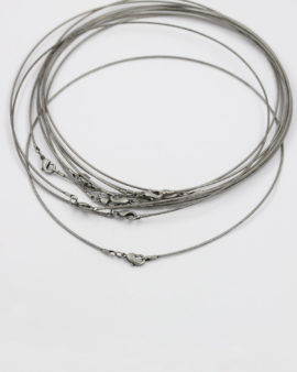 neck wire with lobster catch antique silver