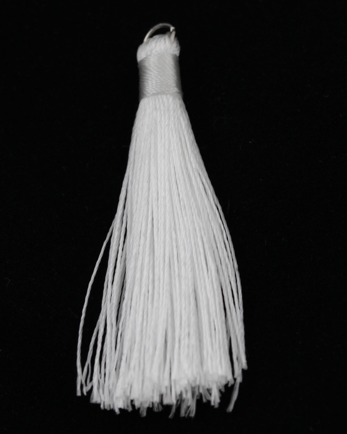 Cotton Tassels With Metal Ring, 50 Mm. Sold Per Pack Of 10