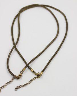wire mesh necklace antique brass