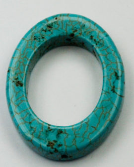 25 x 32 mm Howlite Oval ring - Sold per String - approx. 13 pcs per string
