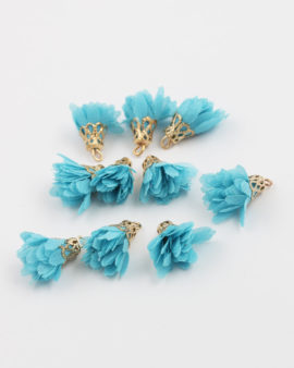 small fabric flower turquoise