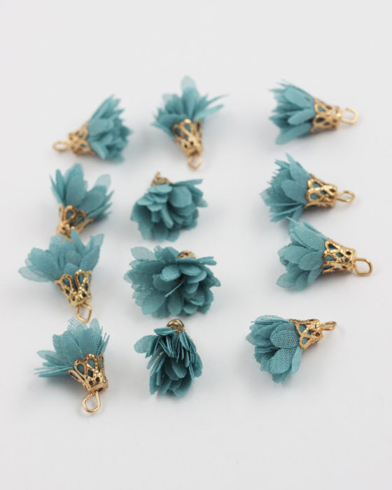 small fabric flower teal