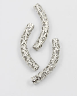 curved filigree tubes antique silver