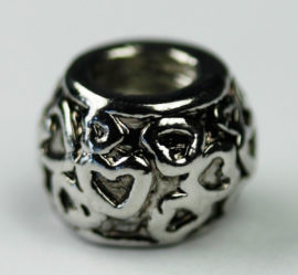 Pandora Style - Charm Spacer with embossed hearts