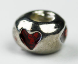 Pandora Style - Charm Spacer with enamelled hearts