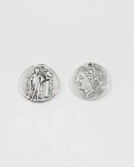 Roman coin charm antique silver