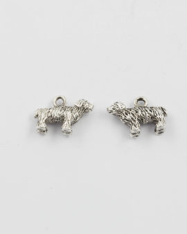 dog charm antique silver
