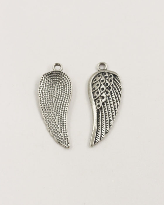 Angel wing charm antique silver