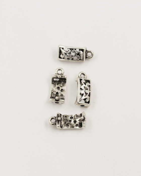 curved charm with fern design antique silver