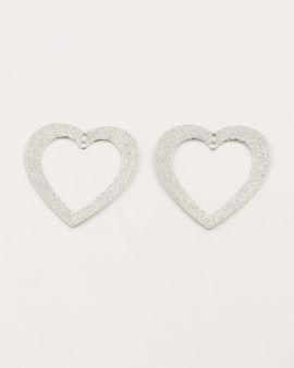 cut out heart sand dust antique silver