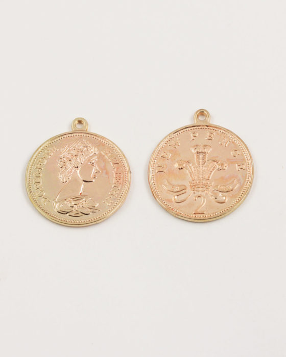 coin penny charm 25mm champagne