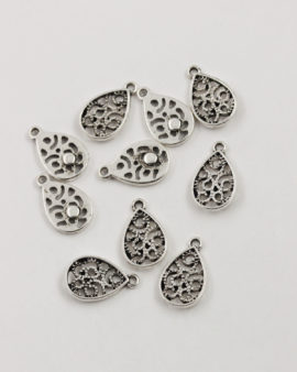 teardrop charm antique silver