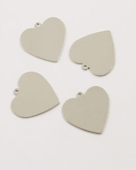 flat heart pendant 25mm antique silver