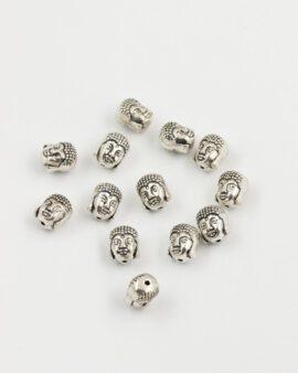 buddha head bead 10mm antique silver