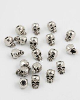 skull bead 10mm antique silver