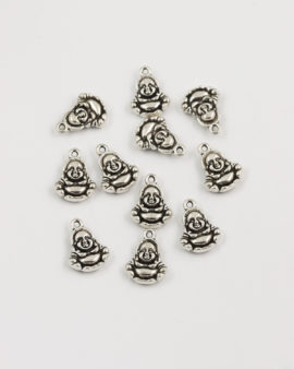 happy buddha charm 19x15mm antique silver