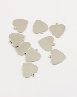 flat heart charm 15mm antique silver