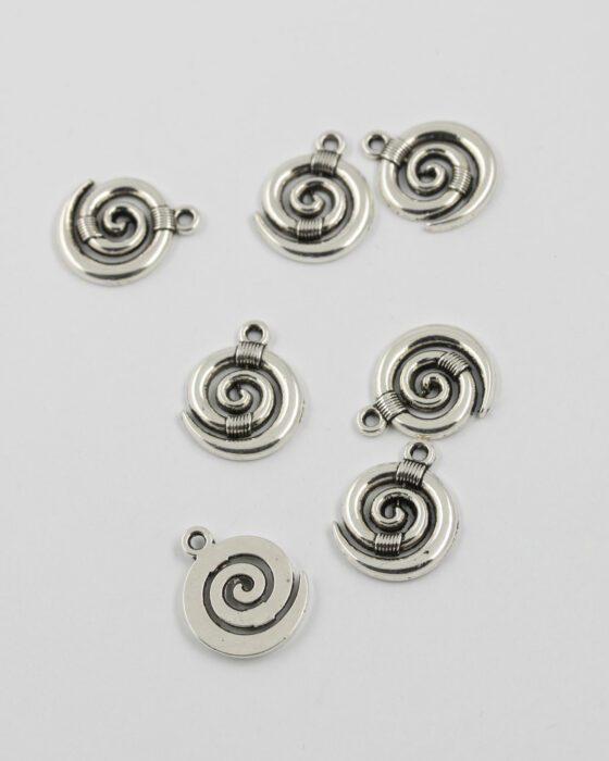 koru charm 15mm antique silver