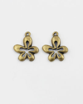 flower charm antique brass