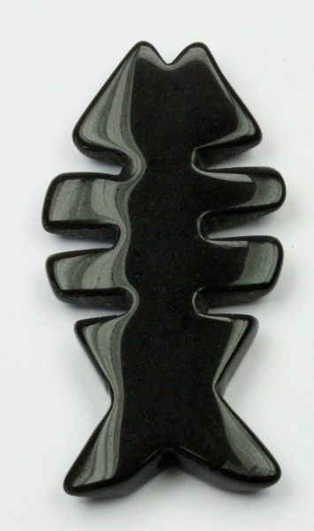 26 x 50 mm Obsidian Fish shape pendant - Sold per string, approx. 8 pcs per string