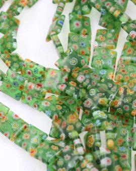 Millefiori glass flat square green