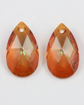swarovski drop pendant crystal copper