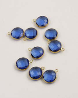 Round Glass Pendant Gold Casing 14mm Sapphire