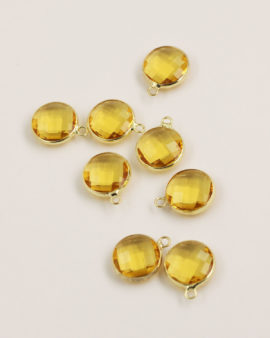 Round Glass Pendant Gold Casing 14mm Light Topaz