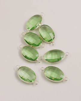 Oval Glass Link 2 rings 15x22mm Peridot