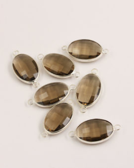Oval Glass Link 2 rings 15x22mm Smokey Quartz