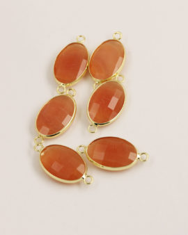 Oval Glass Link 2 rings Gold Casing 15x22mm Peach