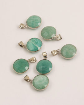 Amazonite pendant 16mm silver casing