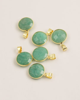 Amazonite pendant 16mm gold casing
