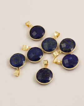 Lapis pendant 16mm gold casing