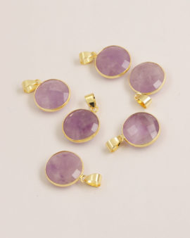 Amethyst pendant 16mm gold casing