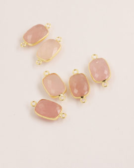 Rose Quartz Rectangular Link 11x15mm