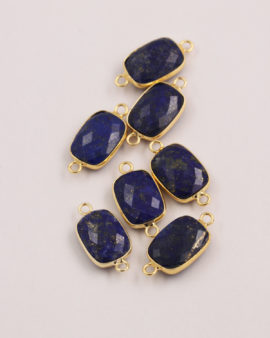 Lapis rectangular link 2 rings 11x15mm gold casing