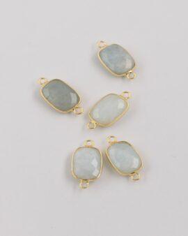 aquamarine rectangular link pendant gold