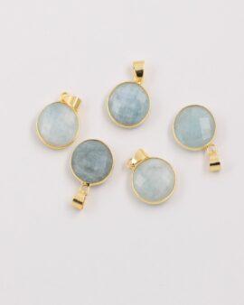 round aquamarine pendant gold