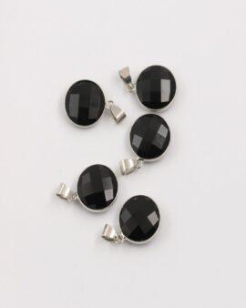 onyx round pendant silver