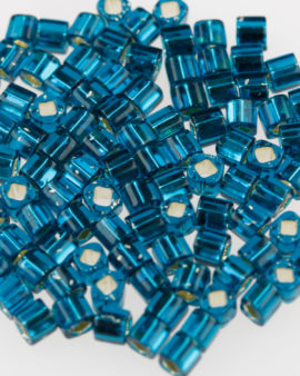 Toho cube 3x3mm silver lined teal