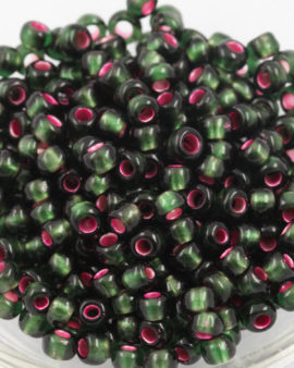 silver lined olivine #6 seed beads