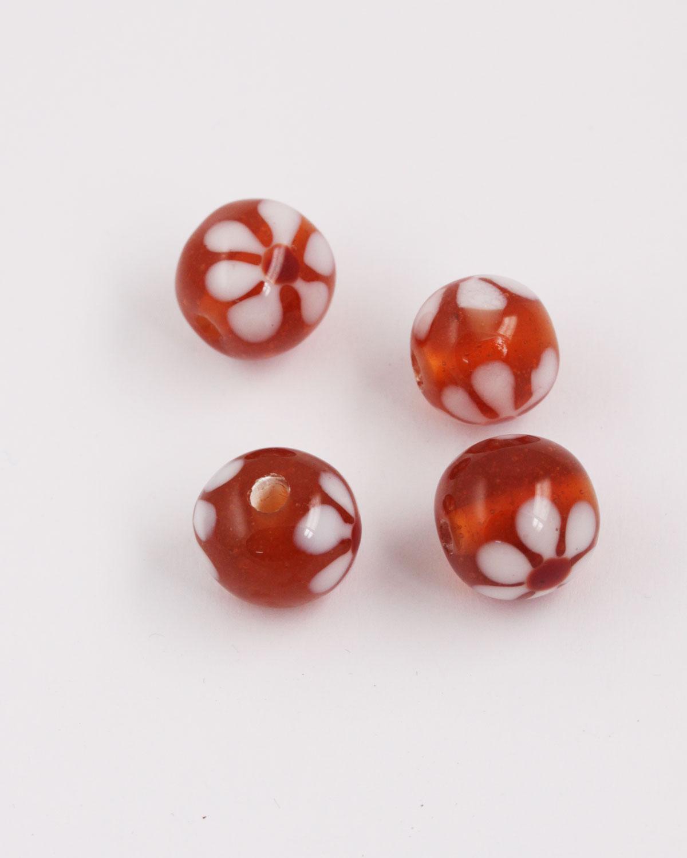 Round handmade glass bead 15mm amber with white flower
