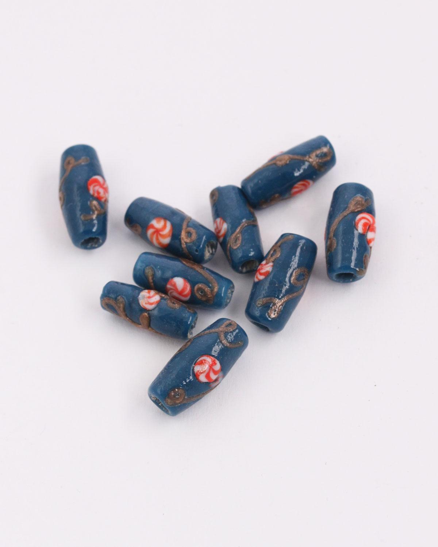 Oval handmade glass bead teal with red swirl