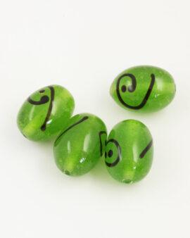 Oval glass beads with koru lime