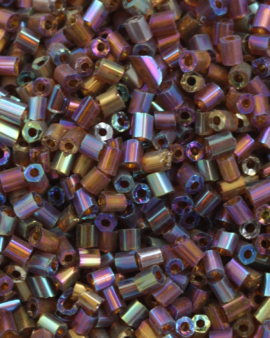 Bugle Beads 2 mm Opaque Bronze Iridescent