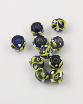 Handmade Glass round Beads with trails 8-10mm Black and yellow