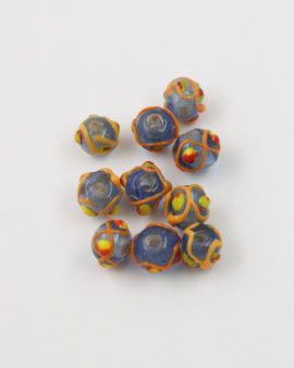 Handmade Glass round Beads with trails 8-10mm blue and yellow