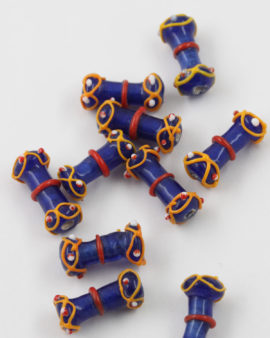 Handmade Glass Beads Bone Shape 25mm Royal blue