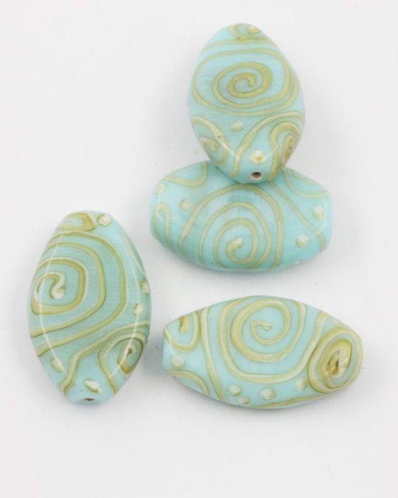 flat glass bead turquoise gold twirl